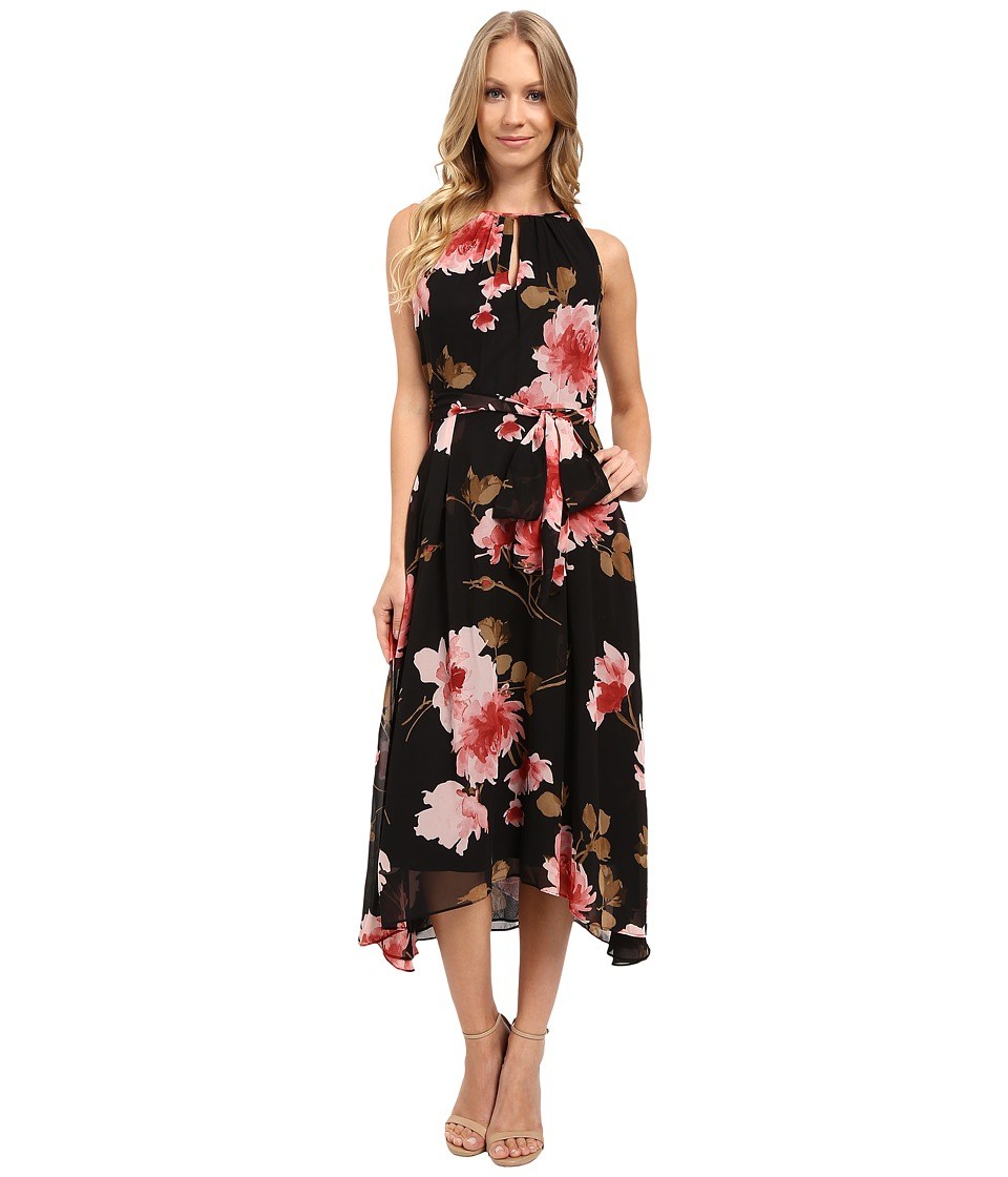 Tahari by ASL - Floral High-Low Hem Tie-Waist Dress (Black/Rose/Olive) Women's Dress