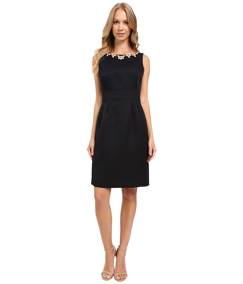 Tahari by ASL - Necklace of Pearls Textured Sheath Dress (Navy) Women's Dress