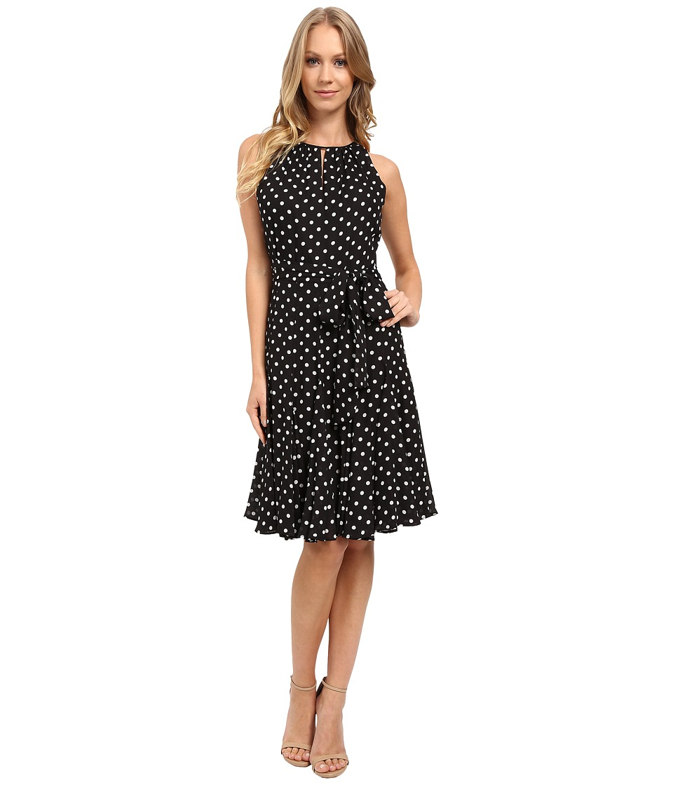 Tahari by ASL - Dot Print Chiffon Faux Wrap Dress (Black/White) Women's Dress