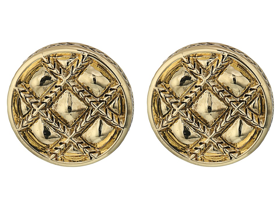 House of Harlow 1960 - Phoebe Quilt Button Earrings (Gold) Earring
