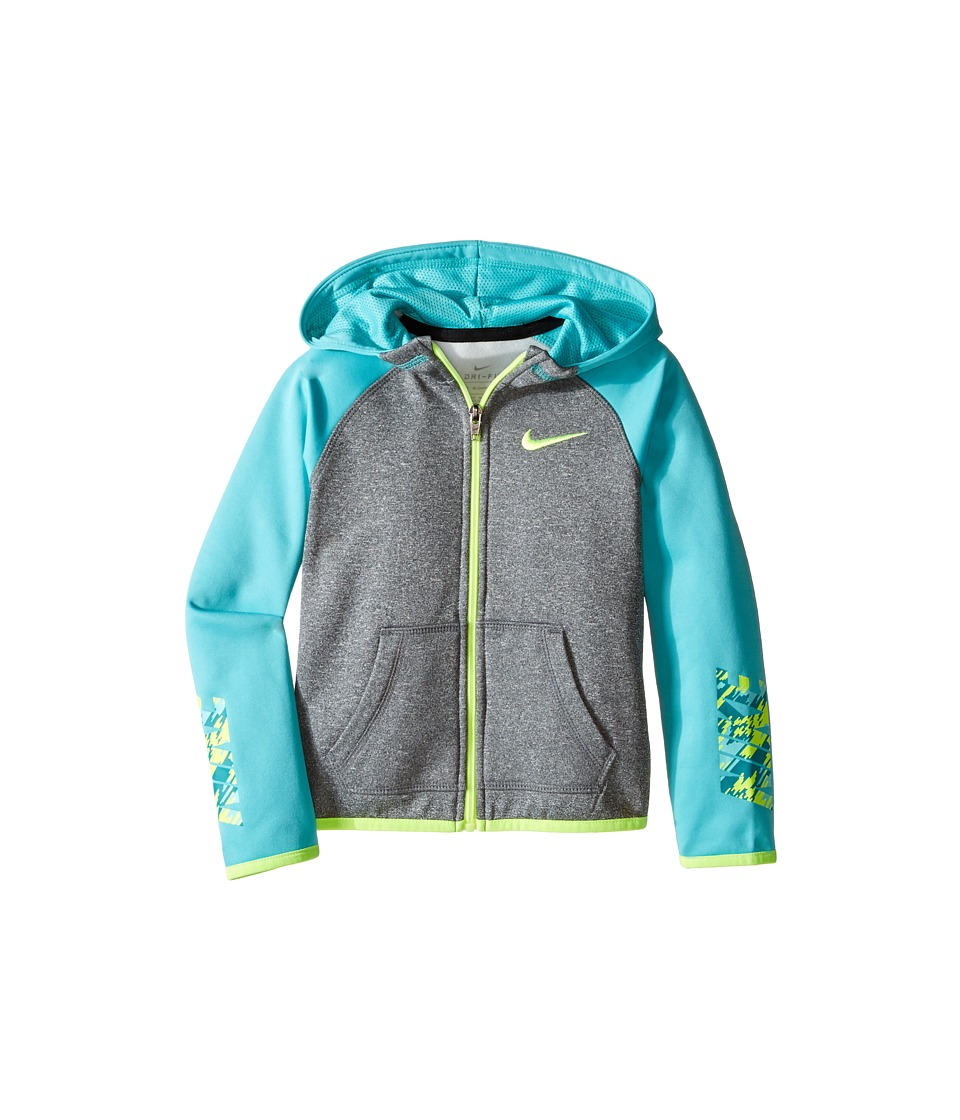 Nike Kids - Thermal Hoodie Full Zip At Graphic (Toddler) (Dark Grey Heather) Girl's Sweatshirt