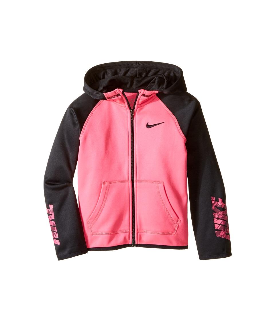 Nike Kids - Thermal Hoodie Full Zip At Graphic (Little Kids) (Hyper Pink) Girl's Clothing