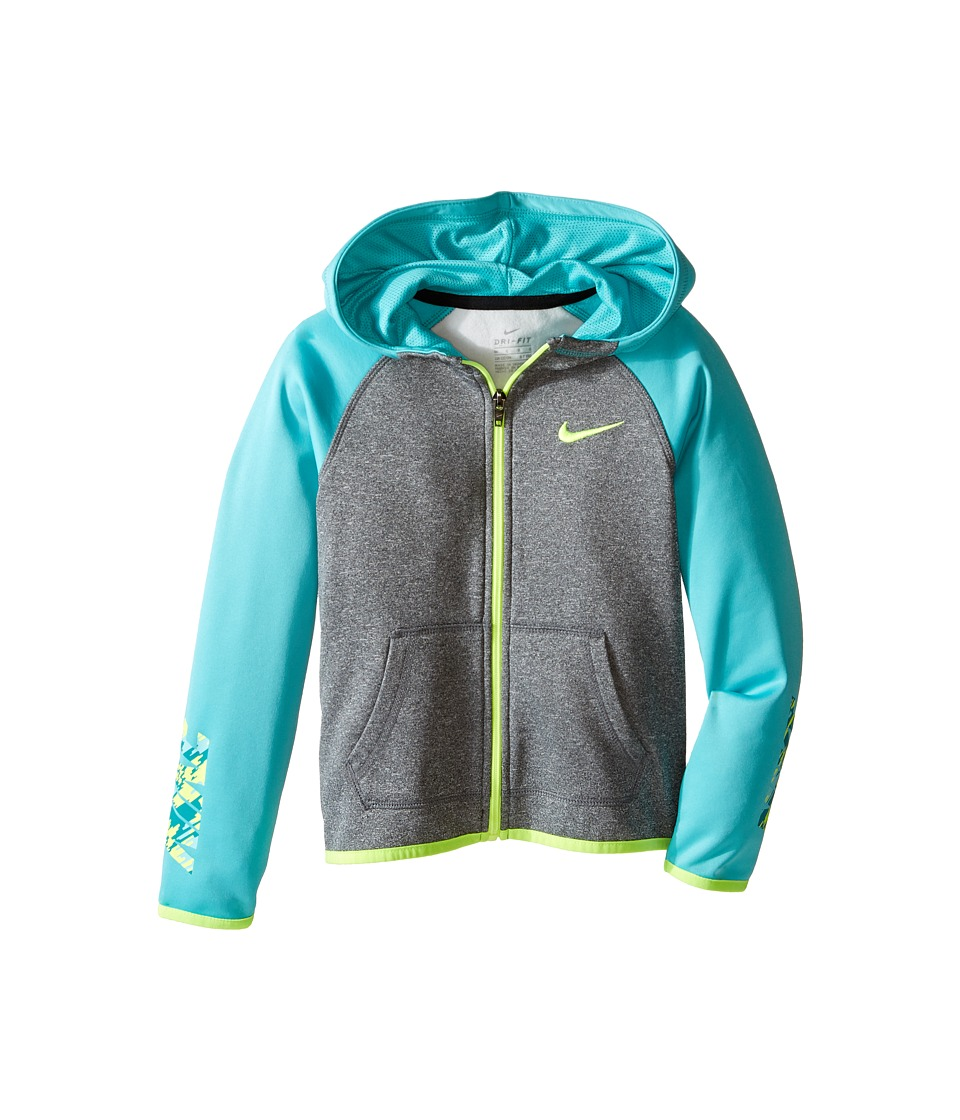 Nike Kids - Thermal Hoodie Full Zip At Graphic (Little Kids) (Dark Grey Heather) Girl's Clothing