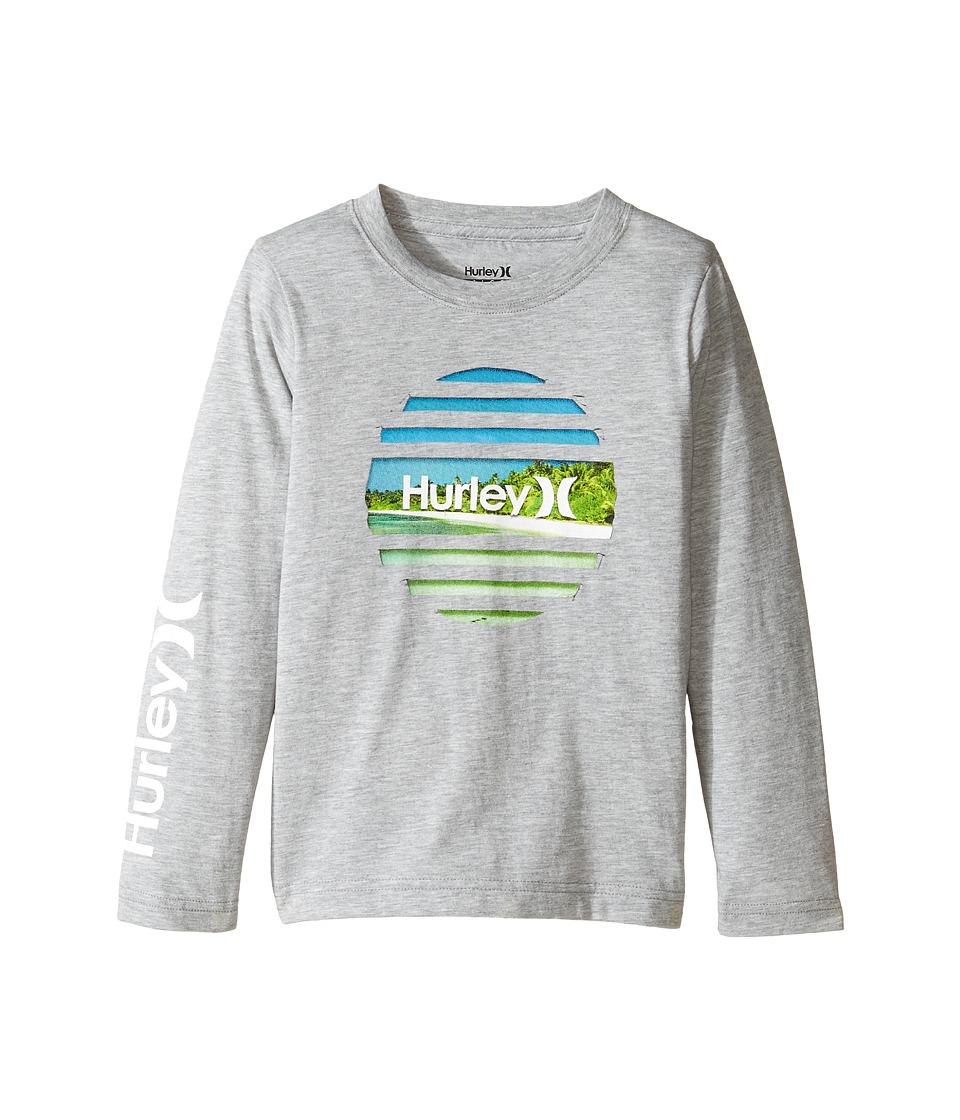 Hurley Kids - Tear Horizon Long Sleeve Tee (Little Kids) (Dark Grey Heather) Boy's T Shirt