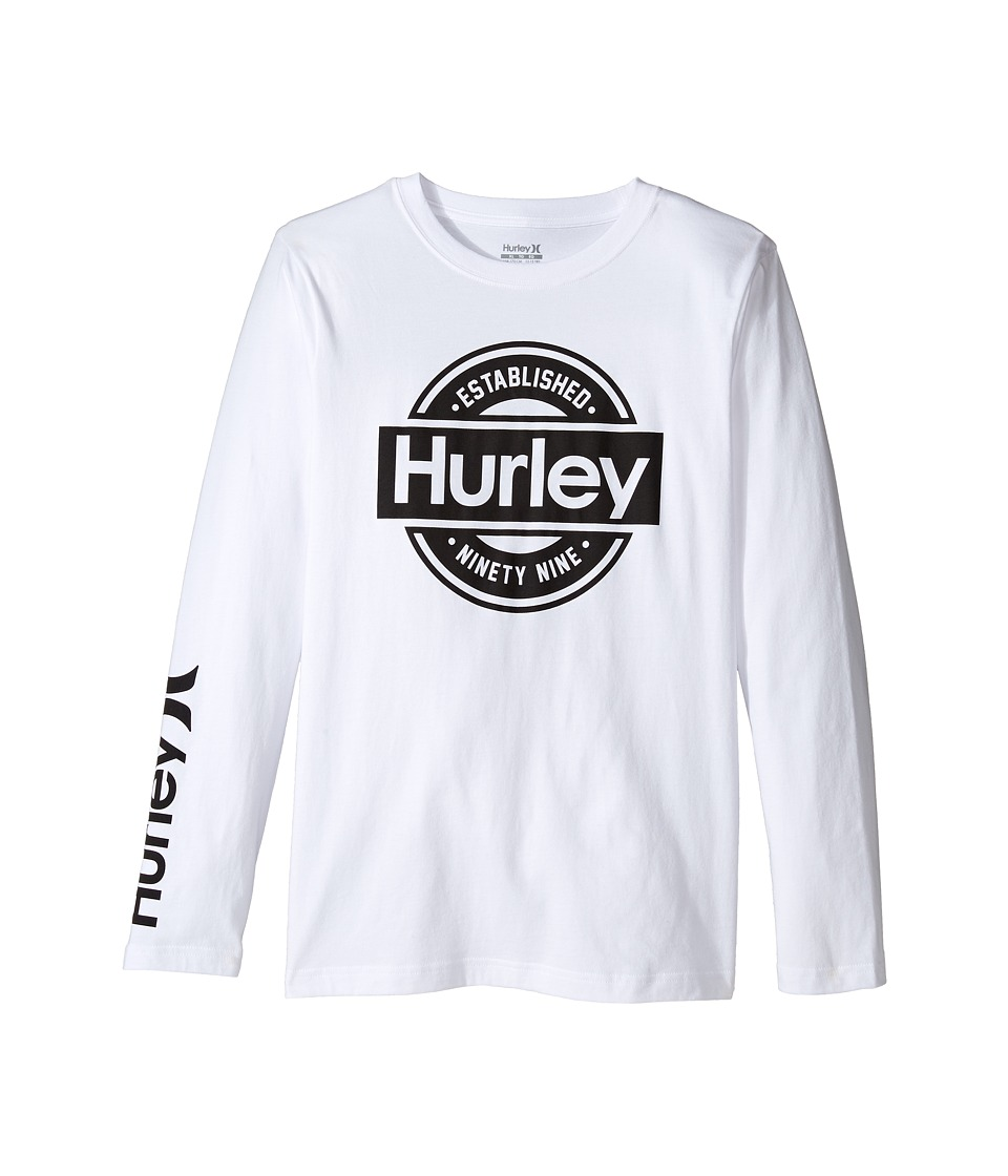 Hurley Kids - Long Sleeve Tee (Big Kids) (White) Boy's T Shirt