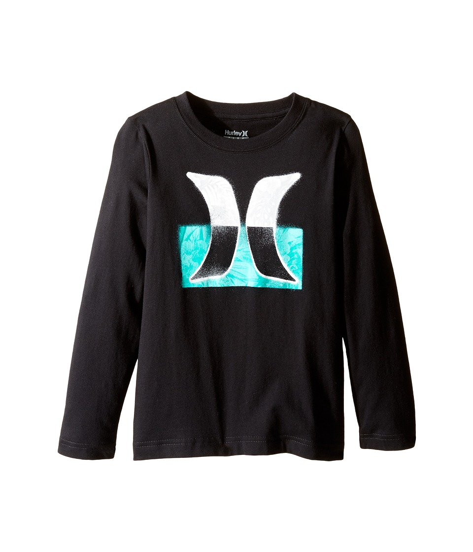 Hurley Kids - Overspray Long Sleeve Tee (Little Kids) (Black) Boy's T Shirt