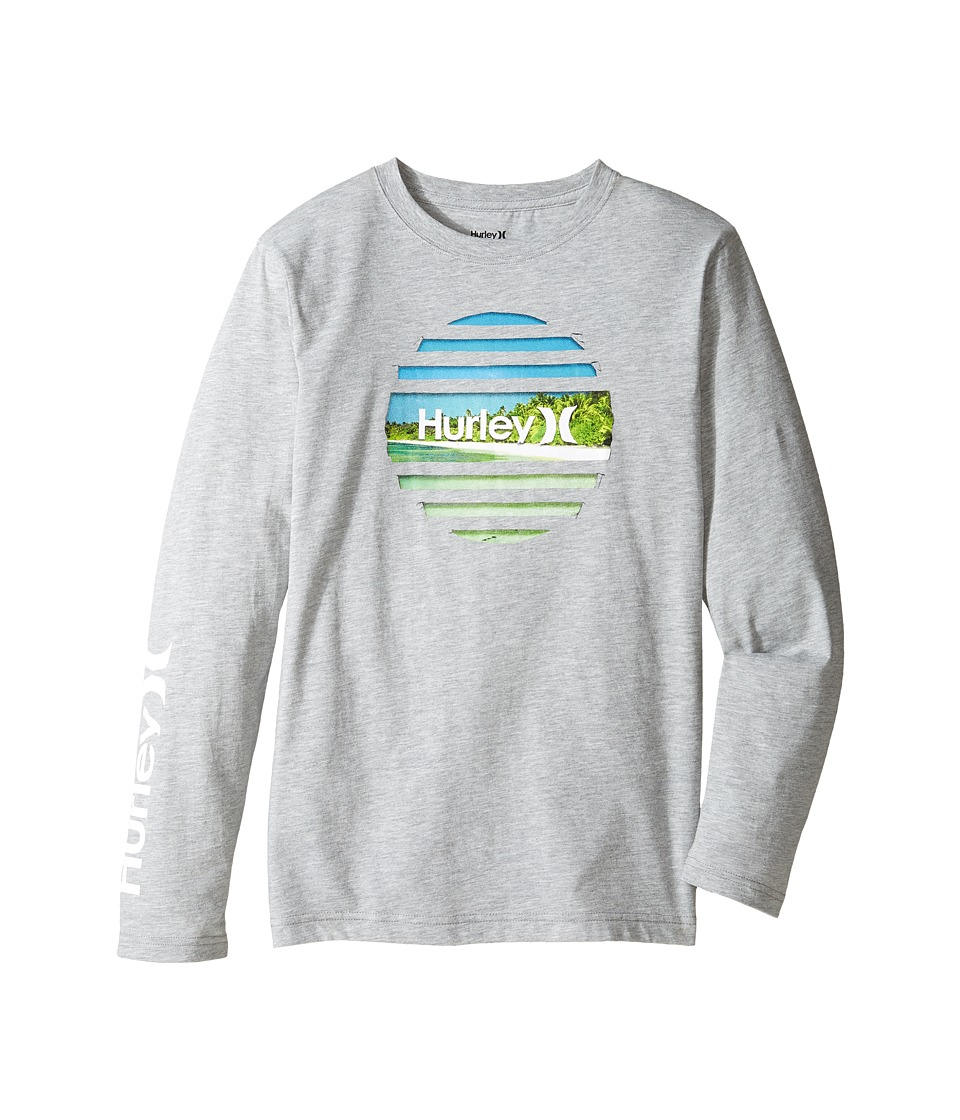 Hurley Kids - Tear Horizon Long Sleeve Tee (Big Kids) (Dark Grey Heather) Boy's T Shirt
