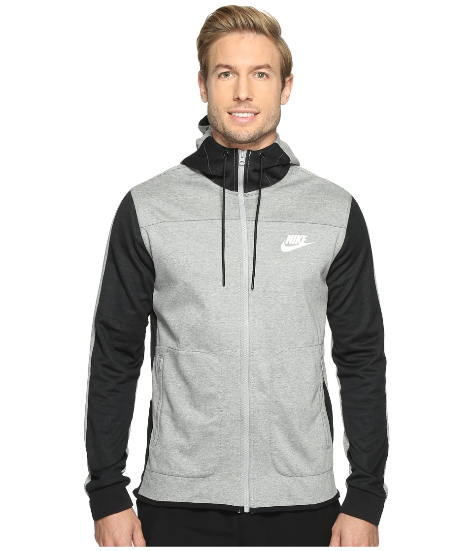 Nike - Advantage 15 Full-Zip Fleece Hoodie (Dark Grey Heather/Black/Black/White) Men's Clothing