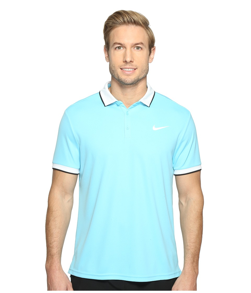 Nike - Court Dry Tennis Polo (Vivid Sky/White/Black/White) Men's Clothing