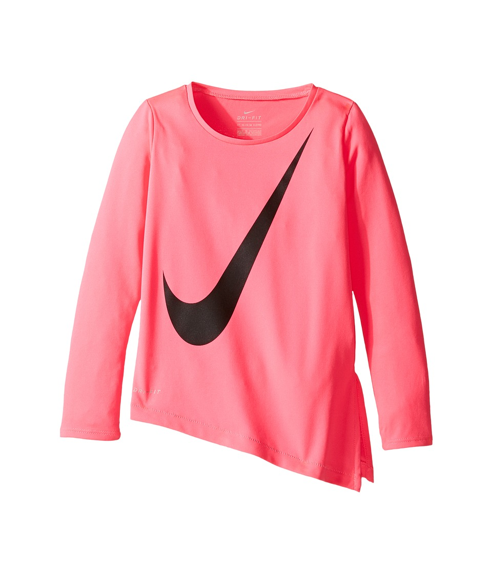 Nike Kids - Dri-Fit Long Sleeve Side Slit Top (Toddler) (Hyper Pink) Girl's Clothing