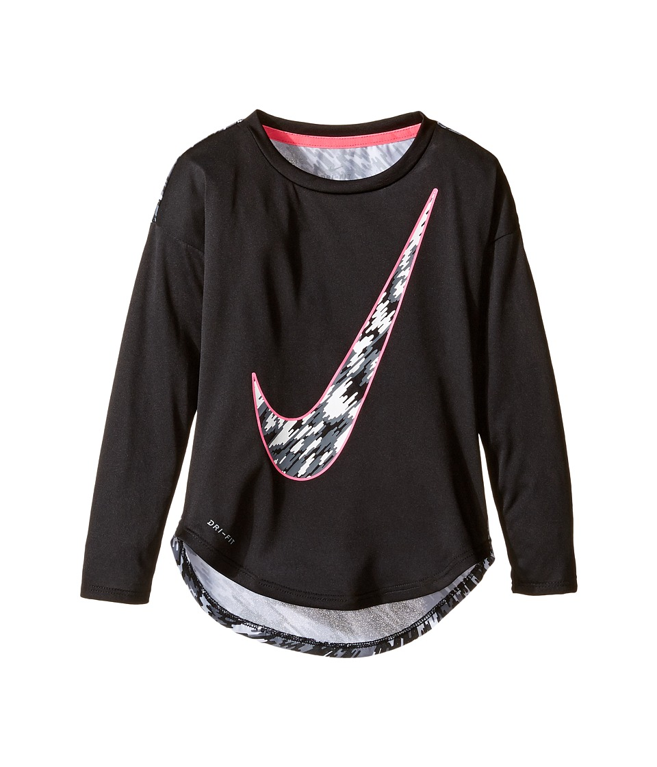 Nike Kids - Dri-FIT Modern Long Sleeve Graphic Top (Toddler) (Black) Girl's Clothing