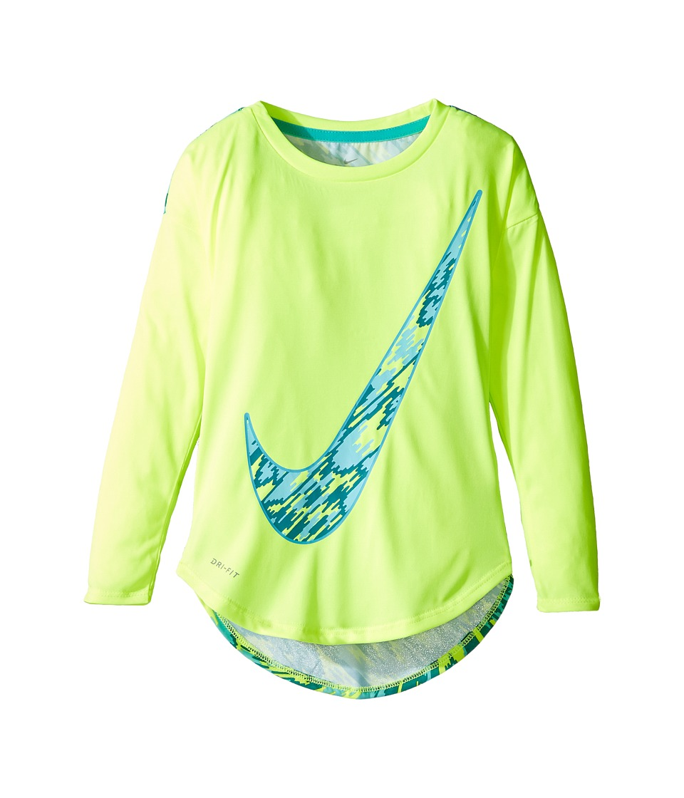 Nike Kids - Dri-FIT Modern Long Sleeve Graphic Top (Toddler) (Volt) Girl's Clothing
