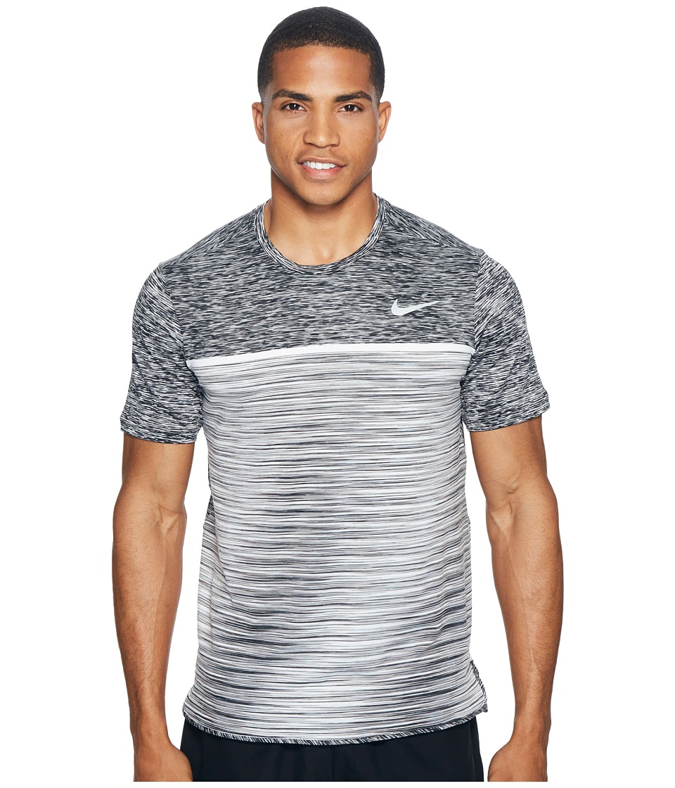 Nike - Court Dry Challenger Short Sleeve Tennis Top (Black/Dark Grey/Pure Platinum/White) Men's Clothing