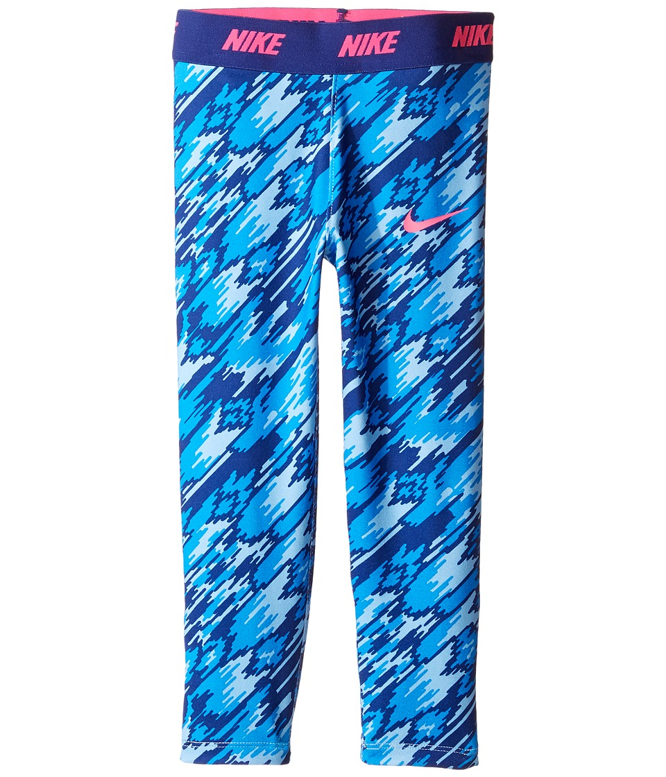 Nike Kids - Dri-FIT Sport Essentials Print Legging (Toddler) (Blue Cap) Girl's Casual Pants