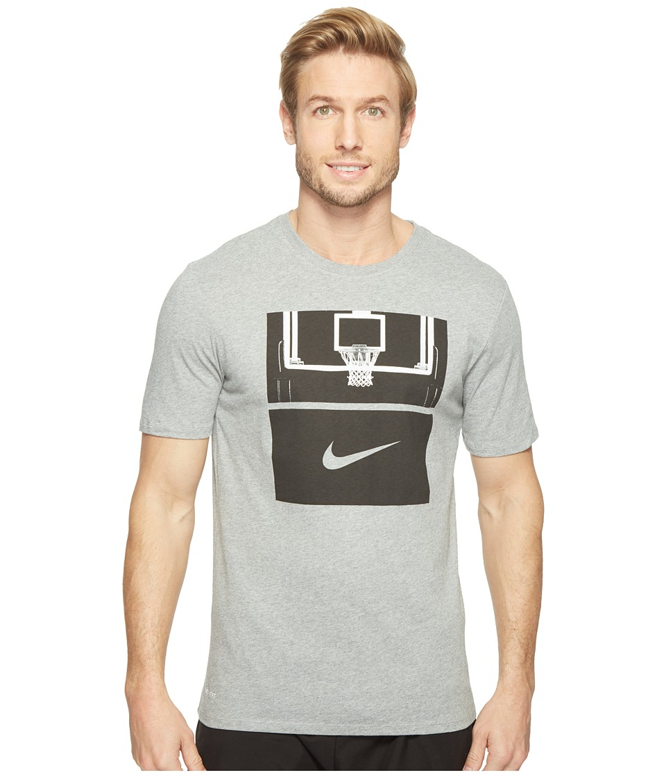 Nike - Dry Basketball Hoop T-Shirt (Dark Grey Heather/Dark Grey Heather/Black) Men's T Shirt