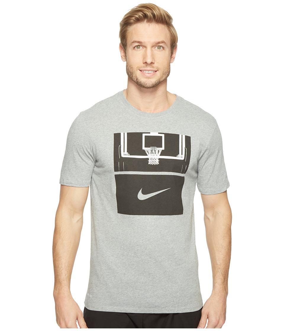Nike - Dry Basketball Hoop T-Shirt (Dark Grey Heather/Dark Grey Heather/Black) Men's T Shirt