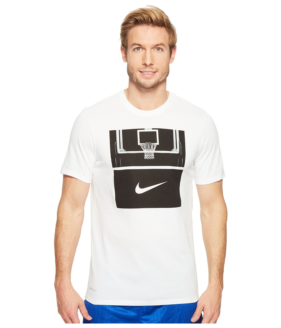 Nike - Dry Basketball Hoop T-Shirt (White/White/Black) Men's T Shirt