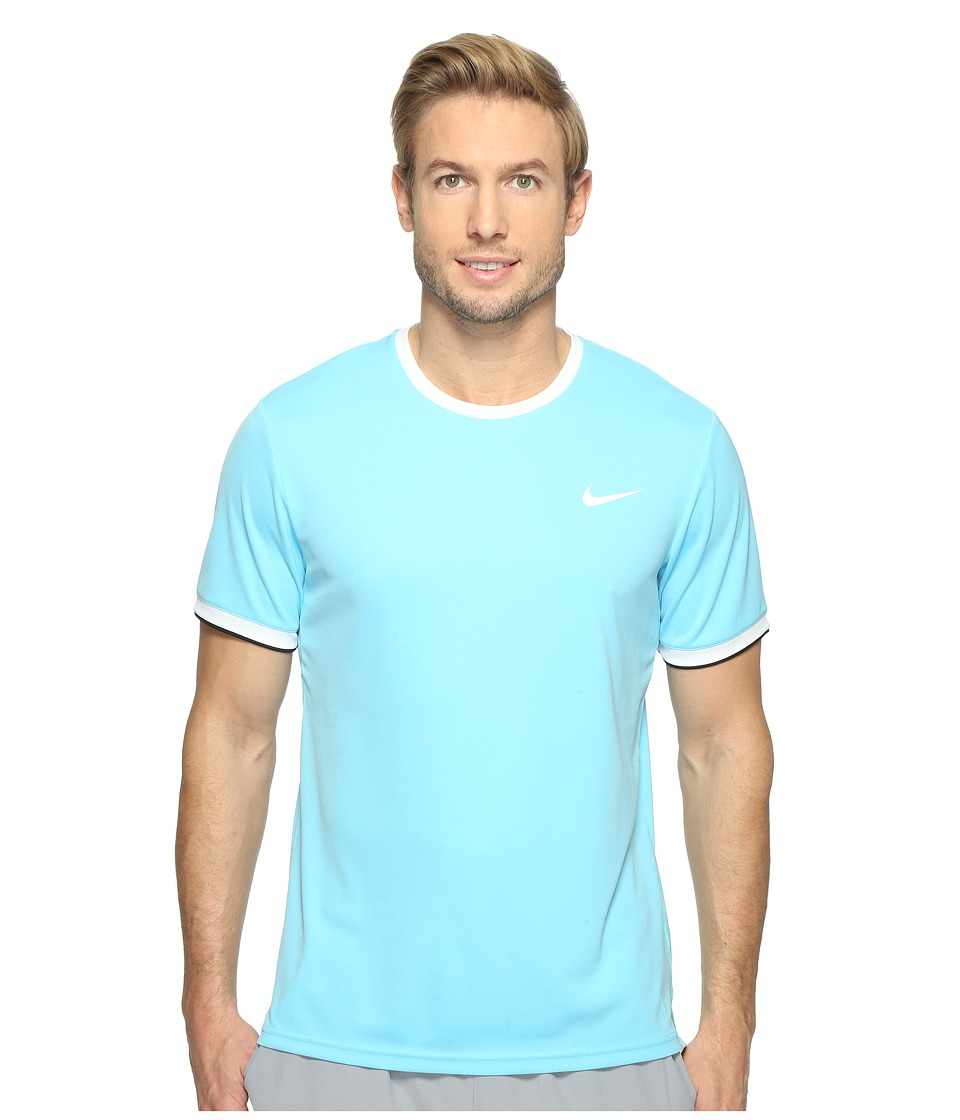Nike - Court Dry Team Crew (Vivid Sky/White/Black/White) Men's Clothing