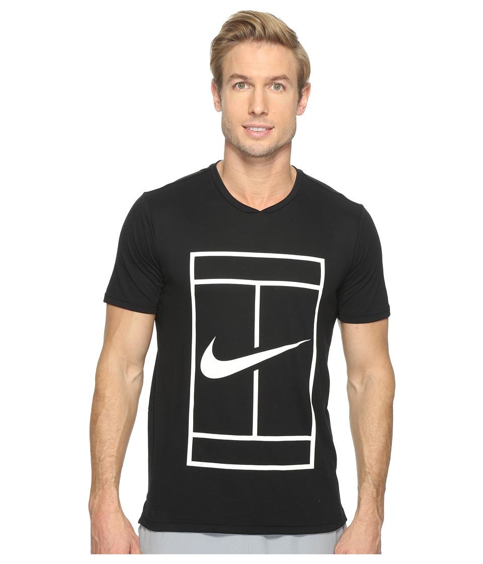 Nike - Court Dry Short Sleeve Tennis Top (Black/White) Men's Clothing
