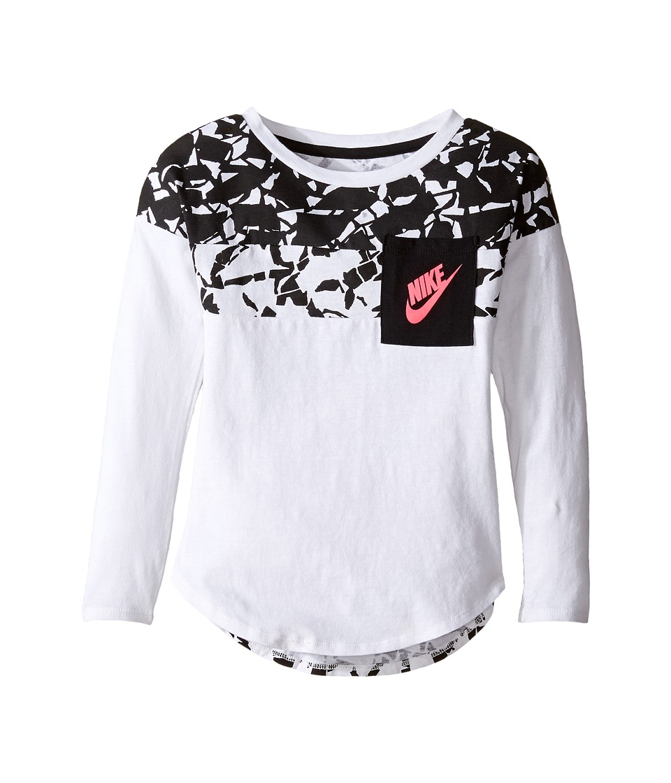 Nike Kids - Club Aop Long Sleeve Pocket Top (Toddler) (White) Girl's Clothing