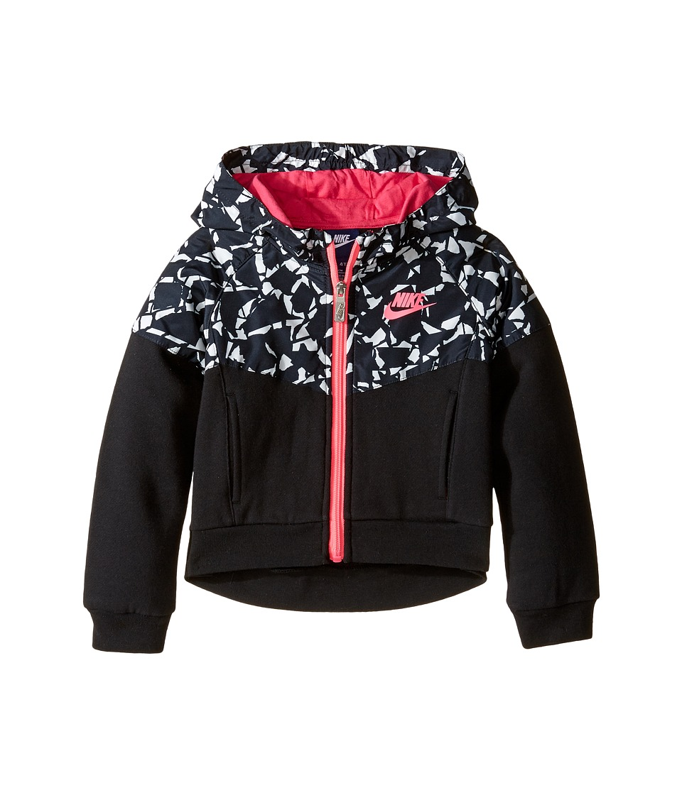Nike Kids - Mixed Fabric Windrunner (Toddler) (Black) Girl's Coat