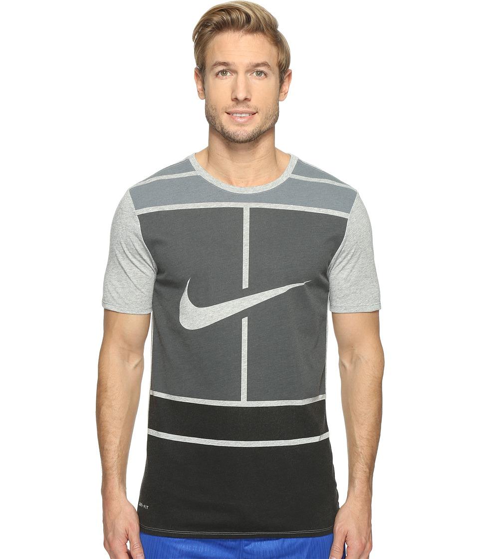 Nike Court Dry Tennis T-Shirt (Dark Grey Heather/Black) Men