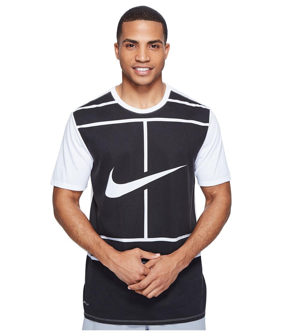 Nike - Court Dry Tennis T-Shirt (White/Black) Men's T Shirt