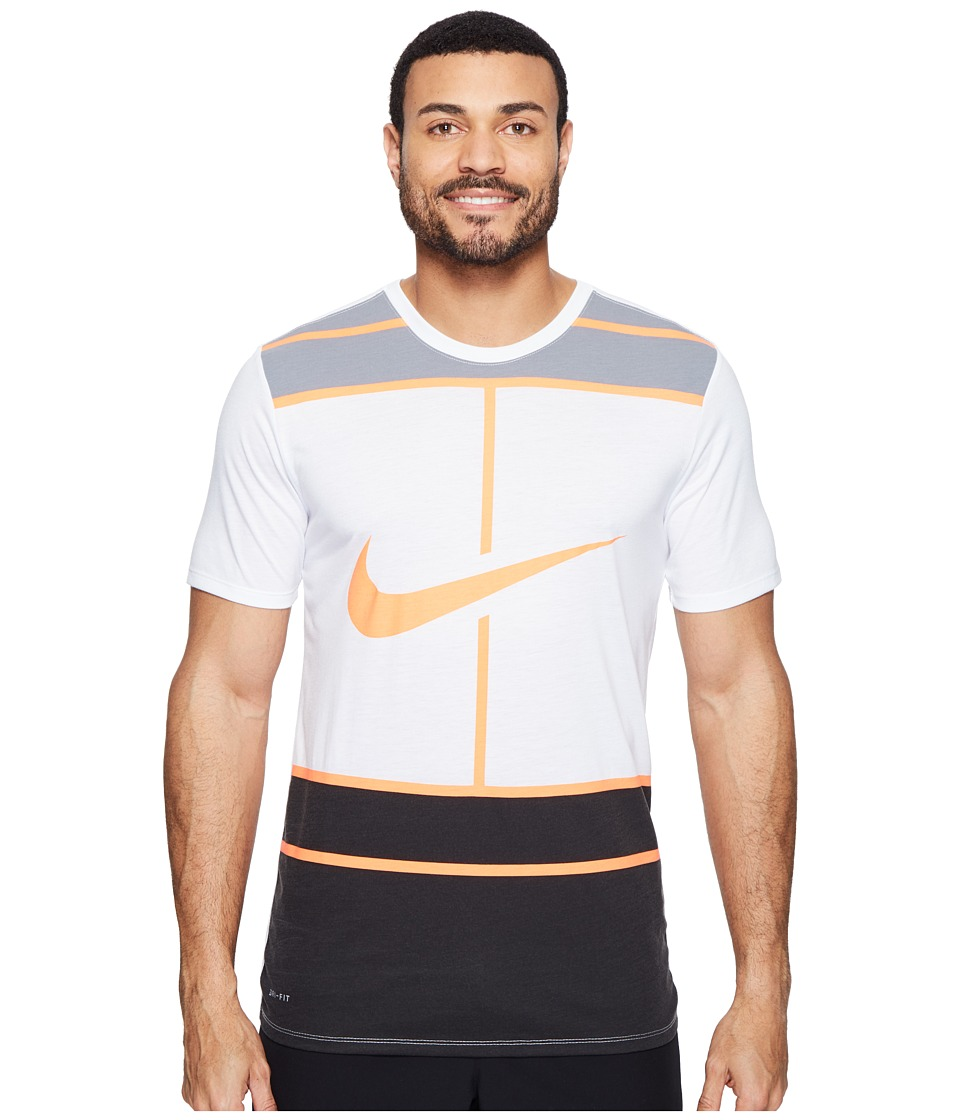 Nike - Court Dry Tennis T-Shirt (White/Bright Mango) Men's T Shirt