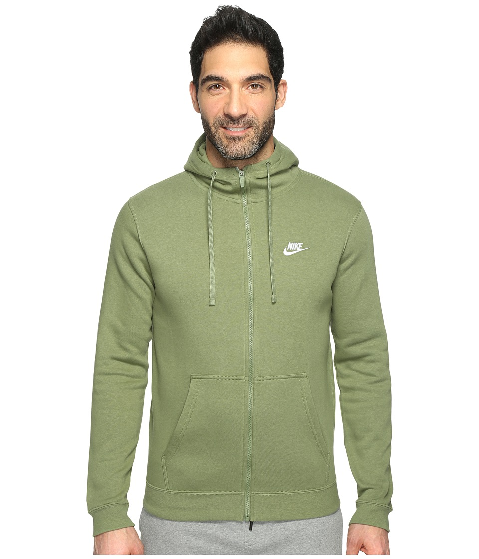 Nike - Club Fleece Full-Zip Hoodie (Palm Green/Palm Green/White) Men's Fleece