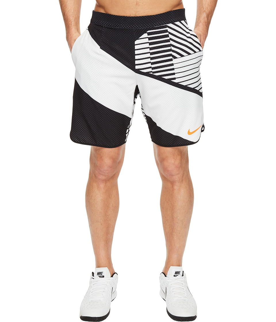 Nike - Court Flex 9 Printed Tennis Short (White/Hyper Orange) Men's Shorts