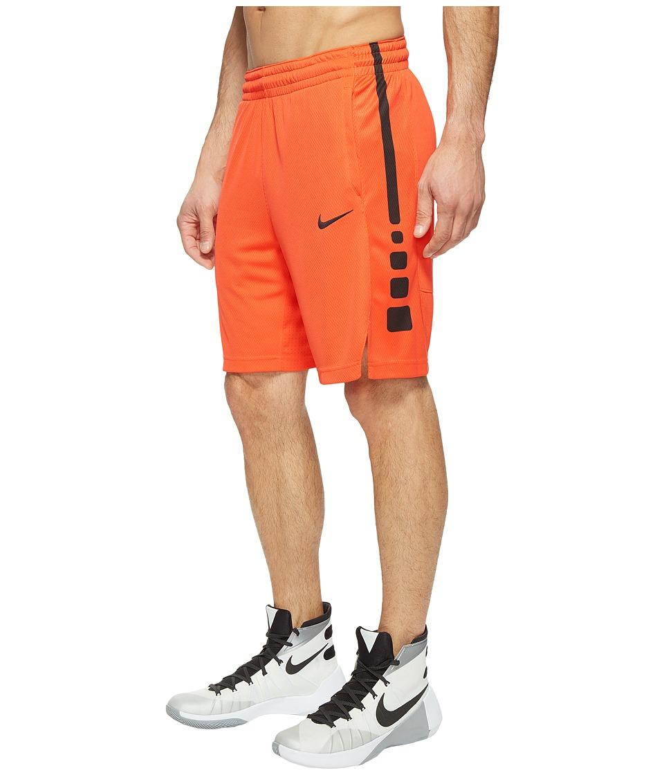 Nike - Elite Stripe Basketball Short (Max Orange/Max Orange/Black/Black) Men's Shorts