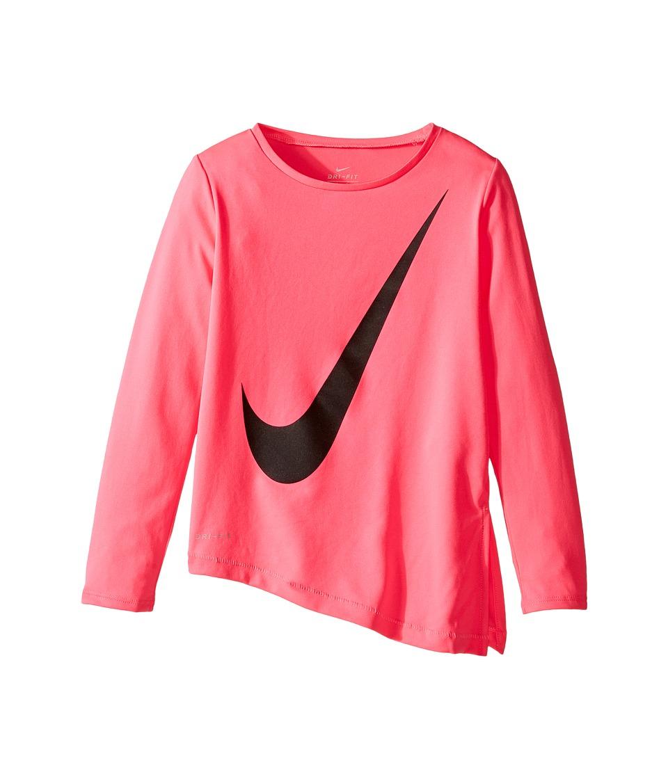 Nike Kids - Dri-Fit Long Sleeve Side Slit Top (Little Kids) (Hyper Pink) Girl's Clothing