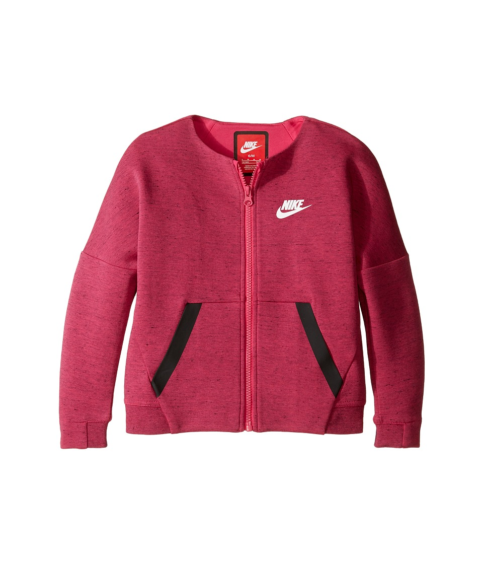 Nike Kids - Tech Fleece Full Zip (Little Kids) (Vivid Pink Heather) Girl's Clothing