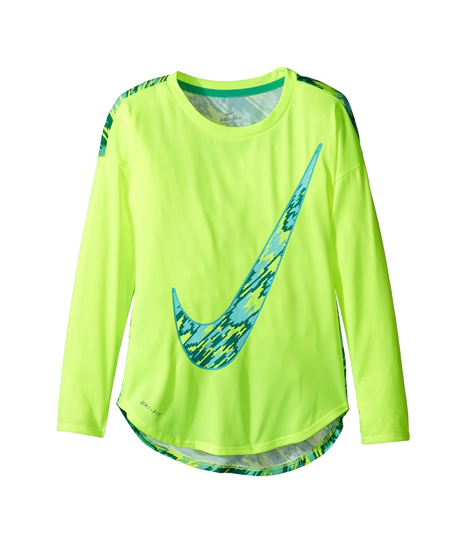 Nike Kids - Dri-FIT Modern Long Sleeve Graphic Top (Little Kids) (Volt) Girl's Clothing