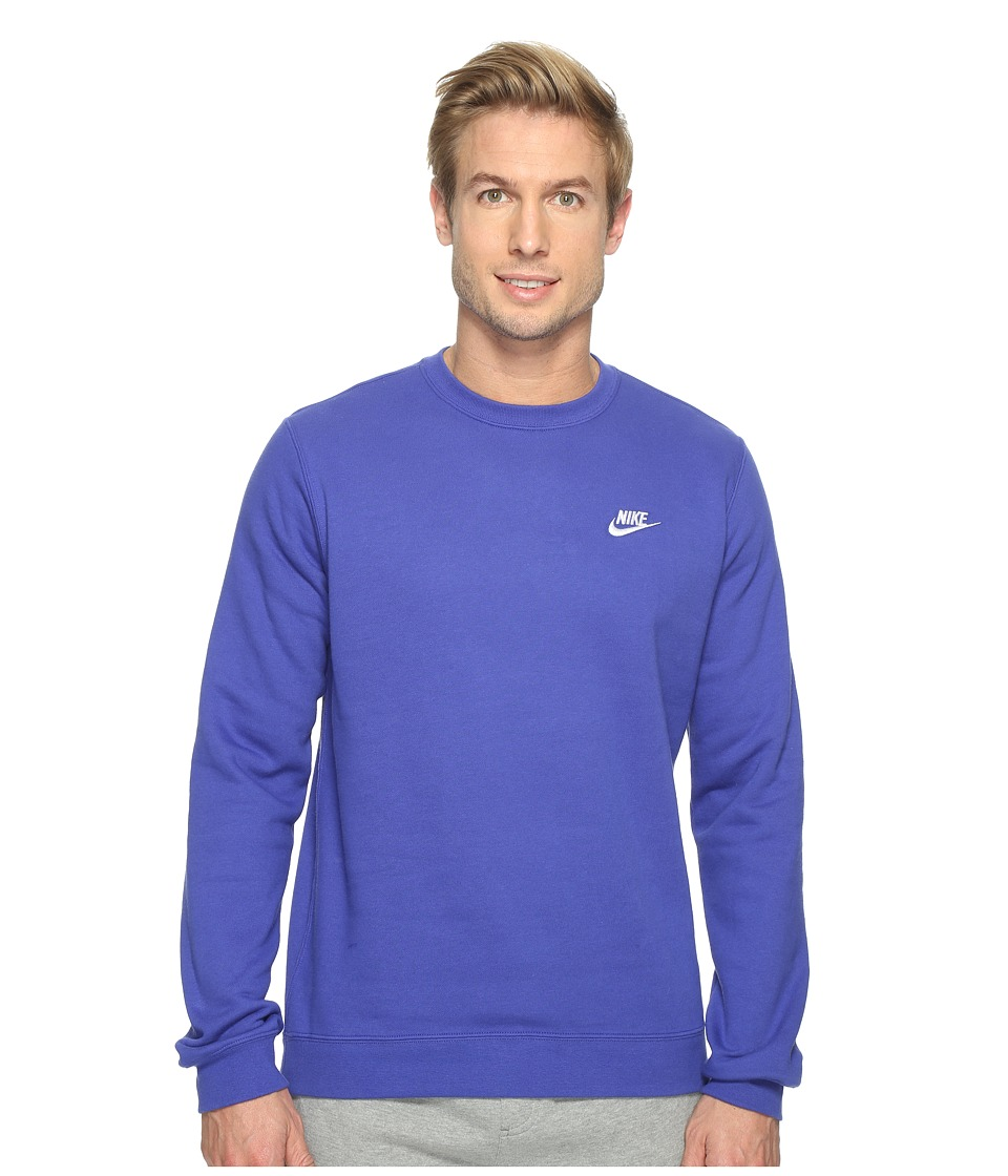 Nike - Club Fleece Pullover Crew (Deep Night/White) Men's Fleece
