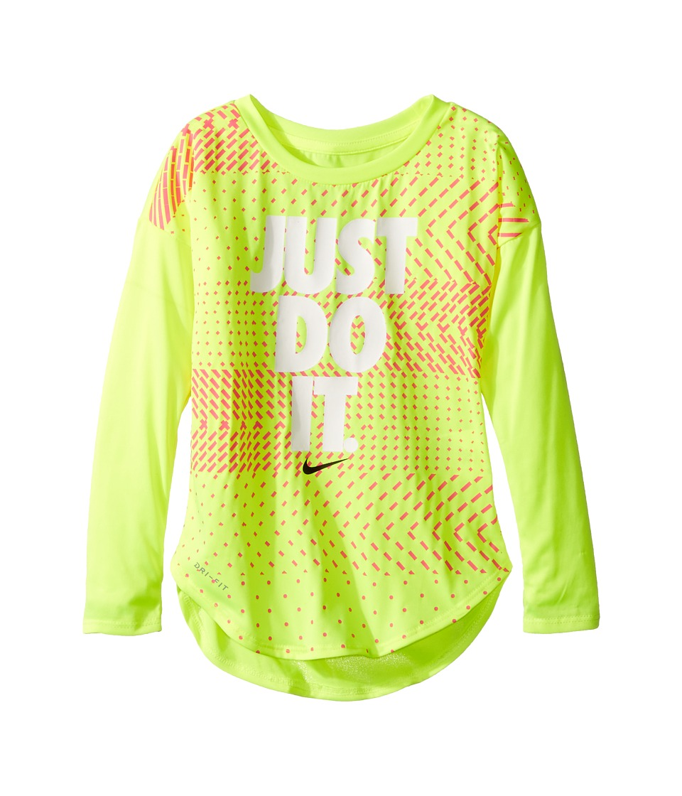 Nike Kids - Just Do It Geo Mashup Modern Tee (Toddler) (Volt) Girl's T Shirt