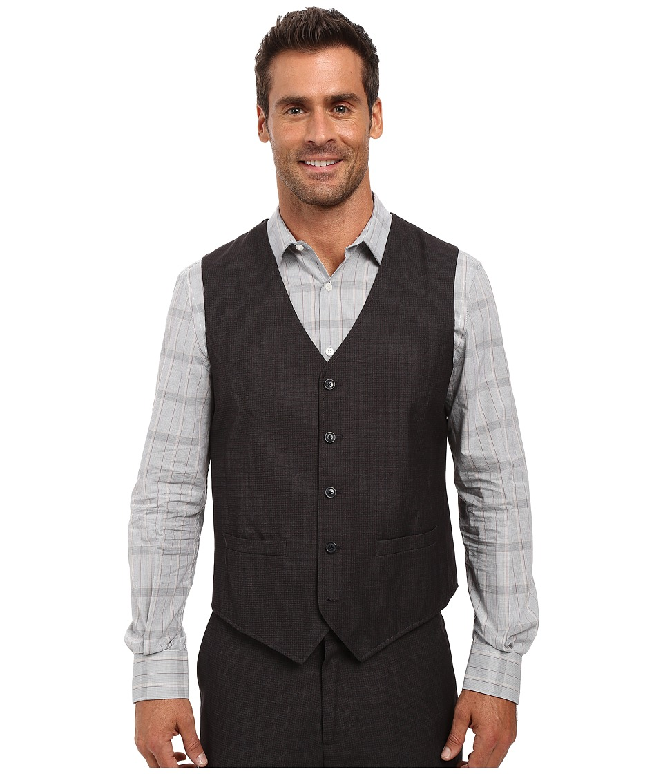 Perry Ellis - Tonal Micro Check Suit Vest (Navy) Men's Vest