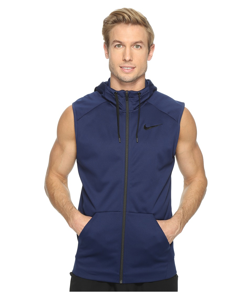 Nike - Therma Hoodie Sleeveless Full Zip Swoosh (Binary Blue/Black) Men's Sweatshirt