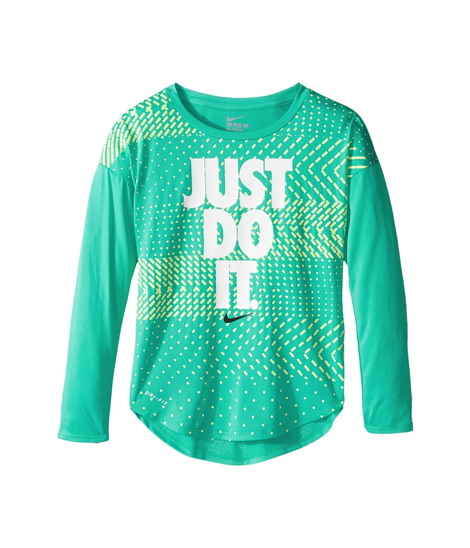 Nike Kids - Just Do It Geo Mashup Modern Tee (Little Kids) (Hyper Jade) Girl's T Shirt