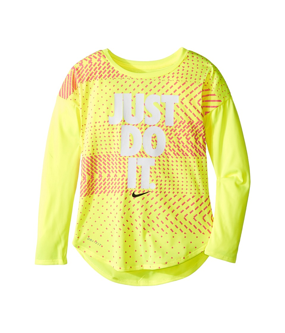 Nike Kids - Just Do It Geo Mashup Modern Tee (Little Kids) (Volt) Girl's T Shirt