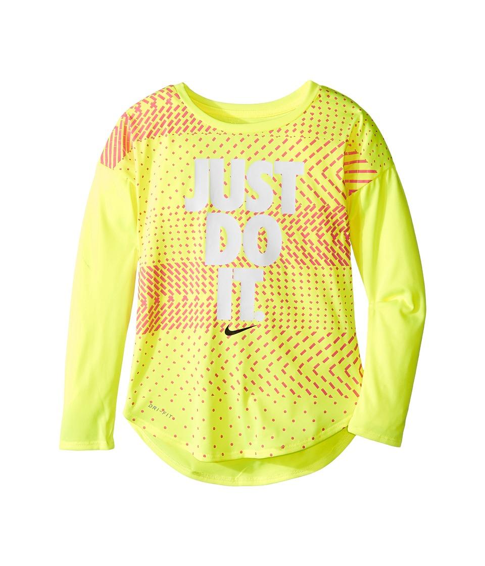 Nike Kids - Just Do It Geo Mashup Modern Tee (Little Kids) (Volt) Girl's T Shirt