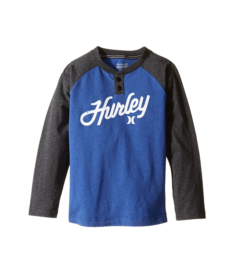Hurley Kids - Thermal Raglan Henley (Little Kids) (Lyon Blue Heather) Boy's Clothing