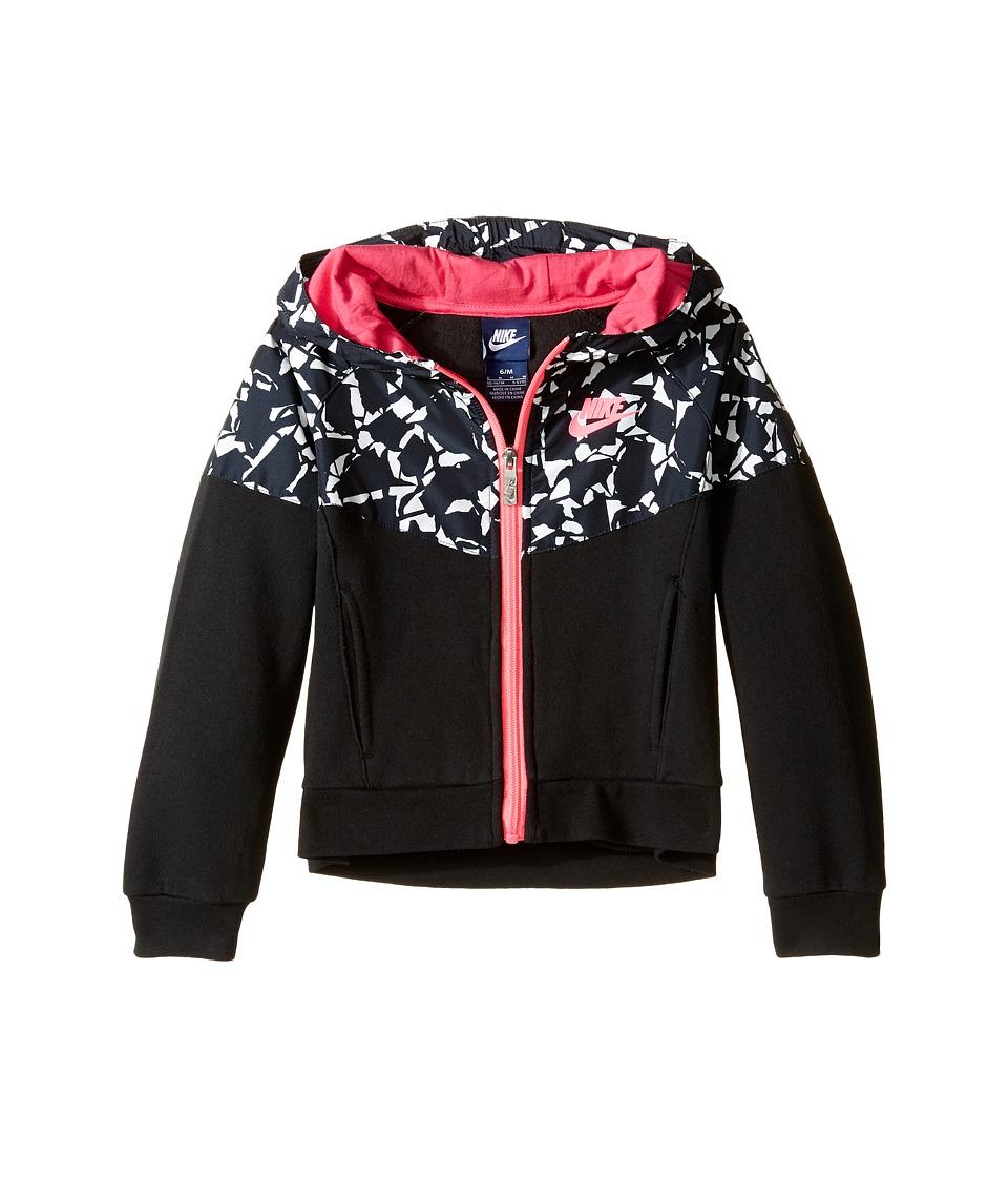Nike Kids - Mixed Fabric Windrunner (Little Kids) (Black) Girl's Coat