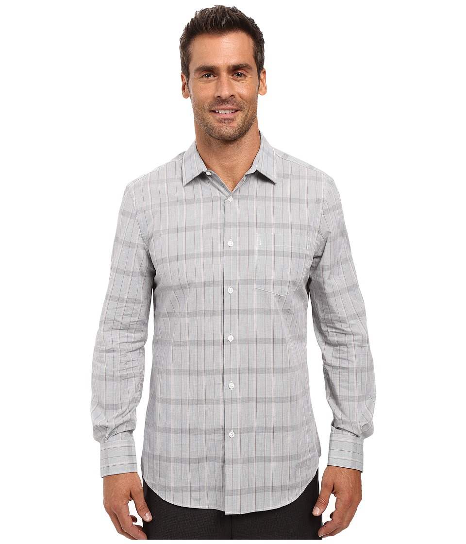 Perry Ellis - Regular Fit Stripe Multicolor Shirt (Bright White) Men's Long Sleeve Button Up