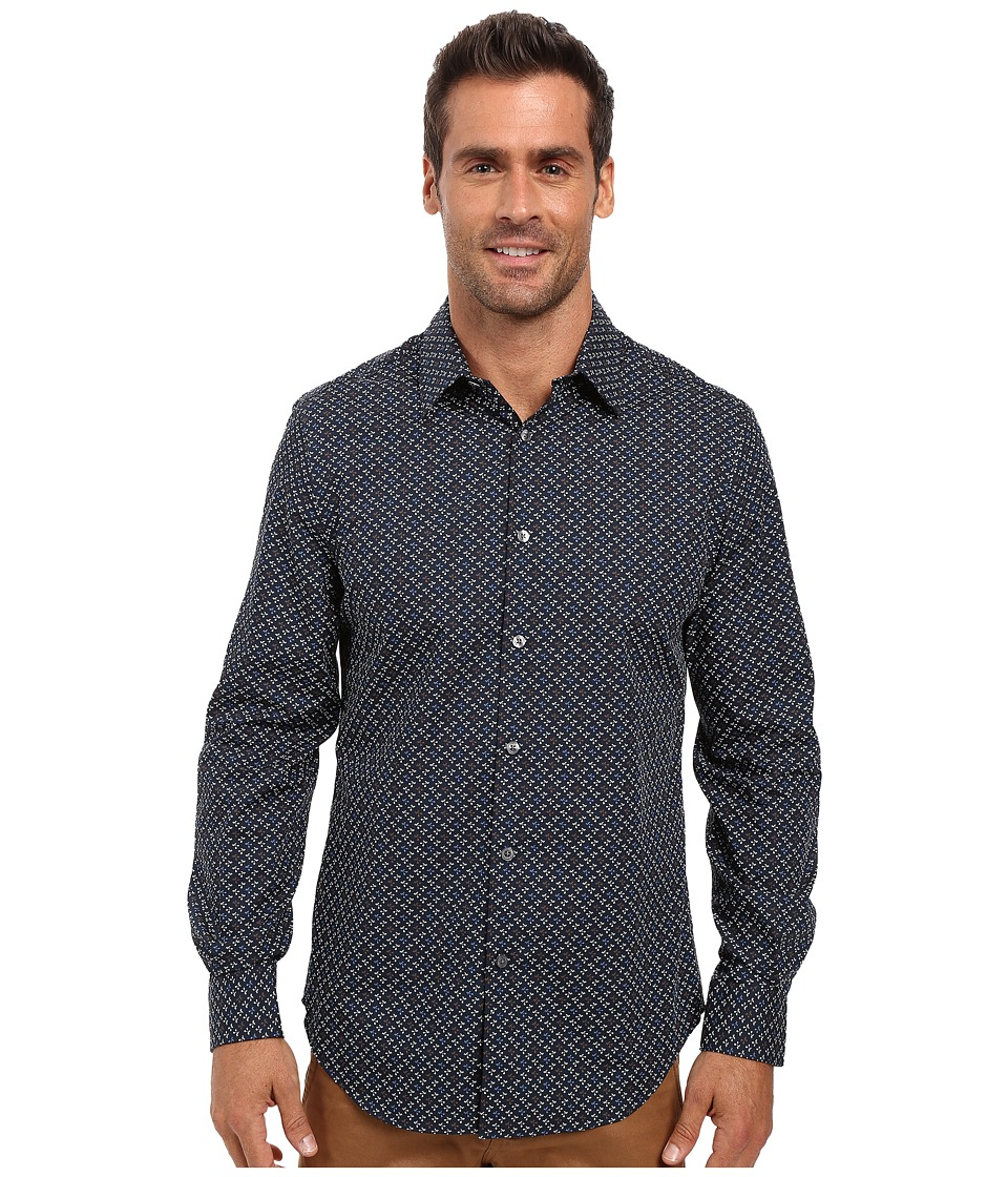 Perry Ellis - Regular Fit Non Iron Mini Floral Print Shirt (Eclipse) Men's Long Sleeve Button Up