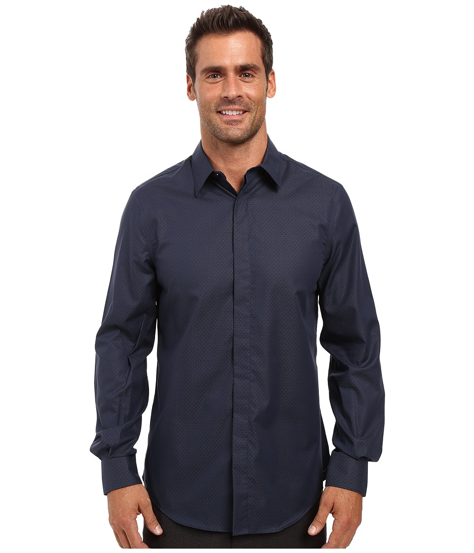 Perry Ellis - Regualr Fit Non Iron Micro Box Print Shirt (Eclipse) Men's Long Sleeve Button Up