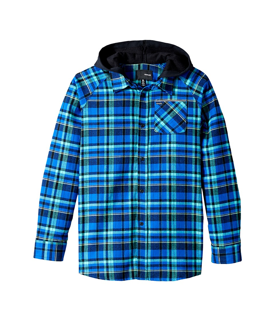 Hurley Kids - Long Sleeve Hooded Flannel Top (Big Kids) (Lyon Blue/Black) Boy's Clothing