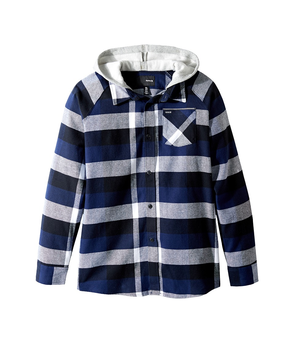 Hurley Kids - Long Sleeve Hooded Flannel Top (Big Kids) (Midnight Navy) Boy's Clothing