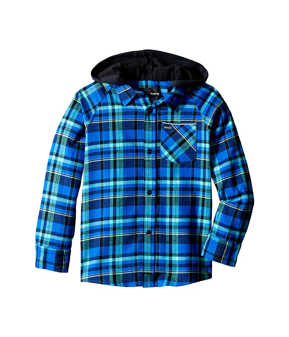 Hurley Kids - Hooded Long Sleeve Flannel (Little Kids) (Lyon Blue/Black) Boy's Clothing