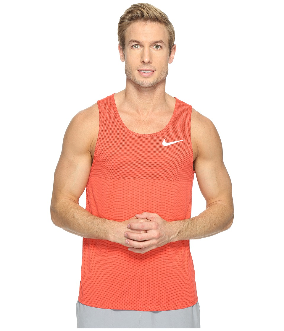 Nike - Zonal Cooling Relay Running Tank (Max Orange/Reflective Silver) Men's Sleeveless